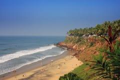 海滩印度热带的喀拉拉 库存图片