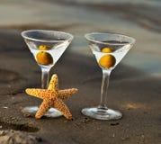 海滩双马蒂尼鸡尾酒 免版税库存照片