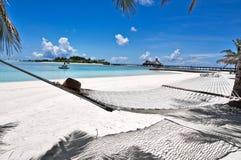 海滩吊床马尔代夫 免版税图库摄影