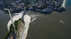 海滩和天堂地方,环球美妙的海滩, Marambaia海滩Restinga,里约热内卢,巴西 免版税库存照片