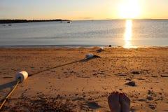 海滩和日落天空 图库摄影