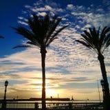 海滩和日落天空 免版税图库摄影