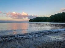 海滩和日落天空 库存照片