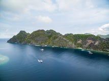 海滩和海岛El的Nido,巴拉望岛,菲律宾 游览C路线和观光的地方 免版税库存图片