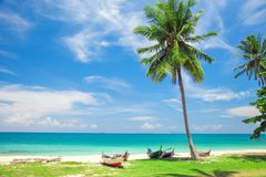 海滩和美丽的热带海 库存图片