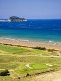 海滩和Zarautz高尔夫球场  免版税库存图片