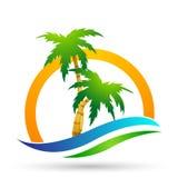 海滩商标水波旅馆旅游业假日夏天海滩可可椰子树传染媒介商标设计在白色背景的海岸象 向量例证