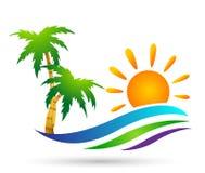 海滩商标水波旅馆旅游业假日夏天海滩可可椰子树传染媒介商标设计在白色背景的海岸象 库存例证