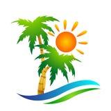 海滩商标水波旅馆旅游业假日夏天海滩可可椰子树传染媒介商标设计在白色背景的海岸象 皇族释放例证