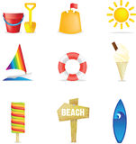 海滩图标 免版税库存图片
