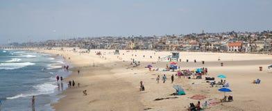 海滩在新港海滨在加利福尼亚 库存照片