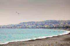 海滩在欧洲冬天 库存图片