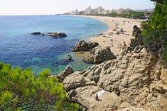 海滩在西班牙在秋天 图库摄影