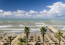 海滩在阿尔巴尼亚是真正地好的 库存照片