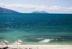 海滩在阿尔巴尼亚是真正地好的 库存图片