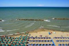 海滩在阿布鲁佐地区, Montesilvano佩斯卡拉 意大利 免版税图库摄影