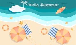 海滩在顶视图,你好和受欢迎的夏季的活动概念传染媒介  库存例证