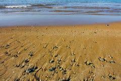 海滩在Denia,西班牙,日出的 免版税库存照片