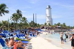 海滩场面,盛大马镫岩礁,巴哈马 免版税库存照片