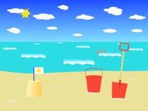 海滩场面 皇族释放例证