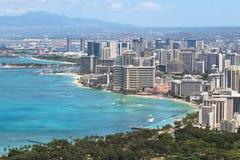 海滩城市夏威夷檀香山waikiki 图库摄影
