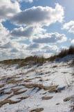 海滩多云海岸线天气冬天 积雪的沙丘 图库摄影