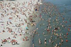 海滩多瑙河晒日光浴的游泳 图库摄影