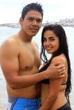 海滩夫妇墨西哥 库存照片