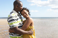 海滩夫妇拥抱浪漫年轻人 库存图片