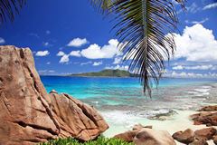 海滩奇妙塞舌尔群岛 免版税图库摄影
