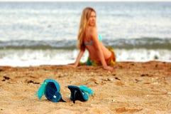 海滩女孩海运 库存图片