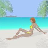 海滩女孩红头发人 库存图片