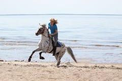 海滩女孩马 免版税图库摄影