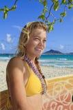 海滩女孩kailua冲浪板 库存图片