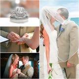 海滩婚礼拼贴画 免版税库存图片