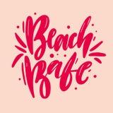 海滩宝贝手拉的传染媒介字法 背景查出的白色 向量例证