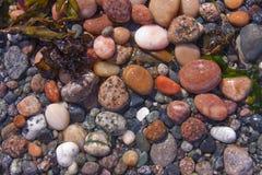海滩小卵石合并浪潮 免版税库存图片