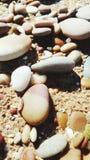 海滩小卵石特写镜头 库存照片