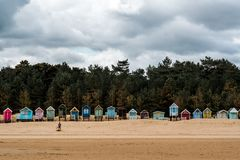 海滩小屋在诺福克英国 免版税库存图片