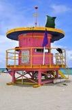 海滩小屋迈阿密桃红色南部 免版税图库摄影