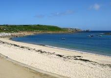 海滩小岛玛丽porthcressa scilly s st 免版税库存图片