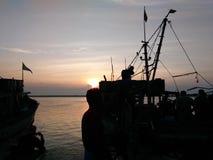 海滩小船danang捕鱼nam viet 免版税库存照片