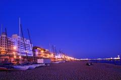 海滩布赖顿晚上英国视图 免版税库存图片