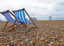 海滩布赖顿椅子 免版税图库摄影