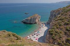 海滩希腊海岛kaladi kithira 库存图片