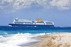 海滩希腊罗得斯 免版税库存照片