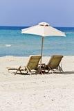 海滩希腊视图 库存图片