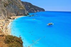 海滩希腊katsiki lefkada波尔图 免版税库存图片