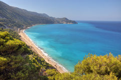 海滩希腊lefkada pefkoulia 免版税图库摄影