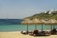 海滩希腊mykonos 免版税库存图片